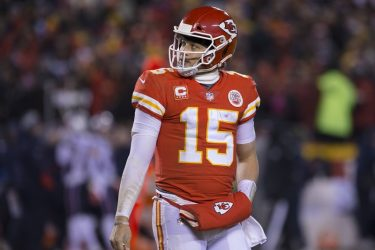 Kansas City Chiefs quarterback Patrick Mahomes 15 looks dejectedly back at the scoreboard in the f